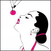 Illustration of a girl with a cherry — Stock Vector