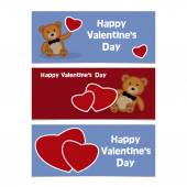Funny cartoon bear cub with red heart. Happy Valentines Day Bann — Vector de stock