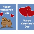 Funny cartoon owls with two red hearts. Happy Valentines Day Car — Stock Vector #62815137