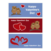 Funny cartoon owls with red heart. Happy Valentines Day Banner. — Stock Vector