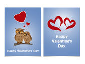 Funny cartoon owls with two red hearts. Happy Valentines Day Car — Stock Vector