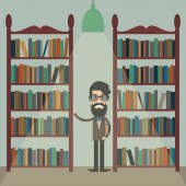Illustration of a man with a book between bookshelves in the lib — Stock Vector