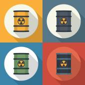 Radioactive waste in barrels . — Stock Vector