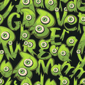 Dark green seamless background with little monsters. — Wektor stockowy