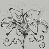 Silhouette of gray lily. silhouette of the flower — Stockvektor