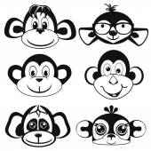 Funny differently monkey. Face of monkeys.  Silhouettes — Stock Vector