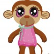 Little monkey with big eyes on a white background. children clip-art. — Stock Vector #78690482