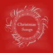 Christmas cover with text in a circle and music notes — Stock Vector