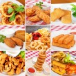 Deep-fried snacks collage — Stock Photo #66765789