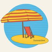 Beach umbrella and deckchair on the beach — Stock Vector