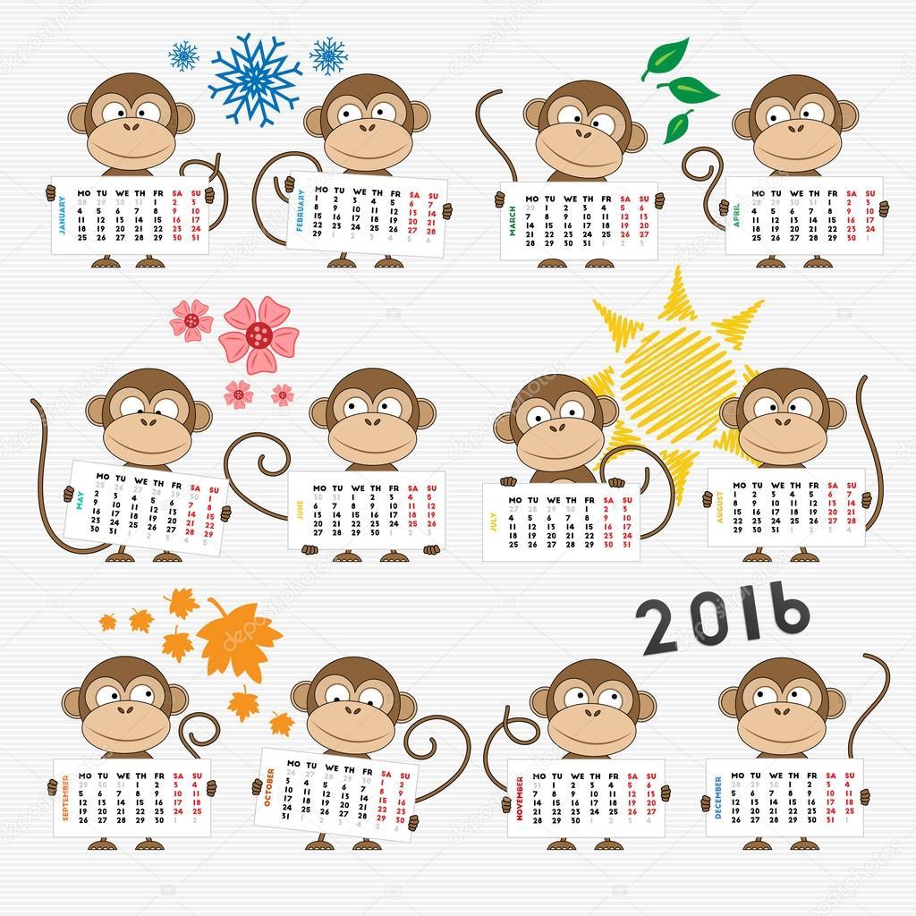 календарь год обезьяны картинки