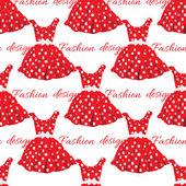 Red dress with white polka dot design. Vector illustration. — Stock Vector