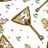 Vector russian balalaika seamless with colourful ornament. — 图库矢量图片