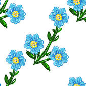 Art flower blue seamless on white  background — 图库矢量图片