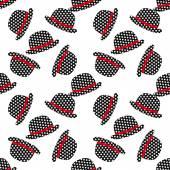 Vector hipster hat seamless pattern, vintage illustration. — Stock Vector