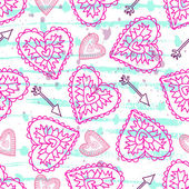 Pink seamless pattern with hearts on a backround. — Vettoriale Stock