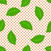 Green leaves seamless pattern on a background. Vector illustration Eps 10. — ストックベクタ