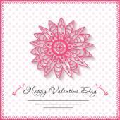 Happy valentines day cards with flower on background — Διανυσματικό Αρχείο