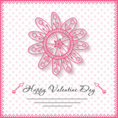 Happy valentines day cards with flower on background — Stock Vector