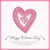 Happy valentines day cards with heart on background — Stockvector