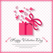 Happy valentines day cards with gift on background — Stock Vector