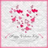 Happy valentines day cards with heart on background — Stock Vector