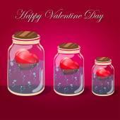Love bottle jar with pink hearts inside. Post card — Stock vektor