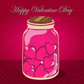 Love bottle jar with pink hearts inside. Post card — Stock Vector