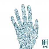 Abstract wave hands with ornament. Vector. — Stock Vector
