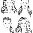 Beautiful woman face set hand drawn vector illustration. — Stock Vector #68070843