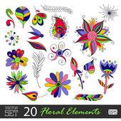 Floral vintage flower pattern set vector. — Vector de stock