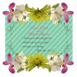 Floral invitation card with beautiful spring flowers and banner style. Perfect for wedding, greeting or invitation design. — Stock Vector #68090347