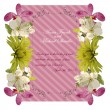 Floral invitation card with beautiful spring flowers and banner style. Perfect for wedding, greeting or invitation design. — Stock Vector #68090985