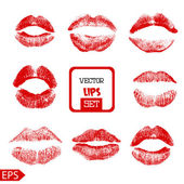 Print of pink lips set. Vector illustration on a white background. — Stock Vector