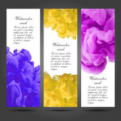 Three vector business cards template with hand painted watercolor ink brush strokes backgrounds and splatters — Stockvektor