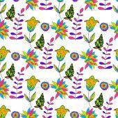 Seamless multicolored retro flower pattern. Vector — Stock Vector