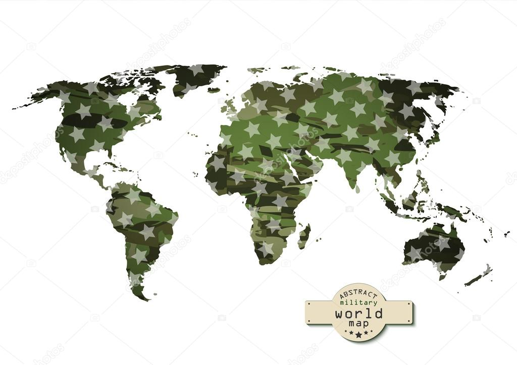 与明星的伪装军事世界地图.矢量图