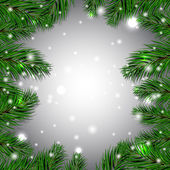 Christmas white background with green fir branches. Vector illustration. — Stock Vector
