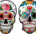 Sugar Skulls With Roses Vector — Stock Vector #69632927