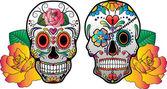 Sugar Skulls With Roses Vector — Stockvektor
