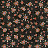 Naadloze patroon met florale achtergrond, naadloze patroon met sieraad op een donkere achtergrond — Vettoriale Stock