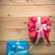 Vintage gift box on old wooden background — Stock Photo #60180615