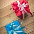 Vintage gift box on old wooden background — Stock Photo #60180649