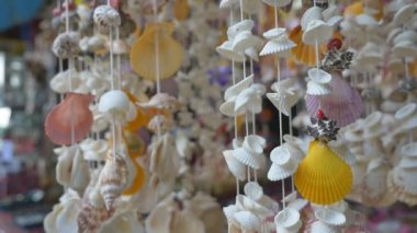 Sea shell mobile hand craft — Stock Video