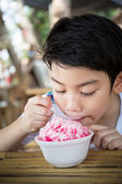 Little asian child with ice cream — Stock Photo