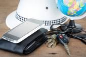 Keys and world travel concept — Stock Photo