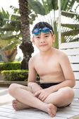 Portrait of happy little boy ready to swimming  — ストック写真