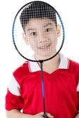 Asian boy in badminton action — Foto de Stock
