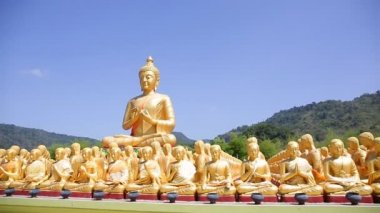 Golden Buddha at Buddha Memorial park ,  Nakhorn nayok Thailand, — Stock Video