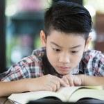 亚洲男孩读一本书 — 图库照片 #76009635